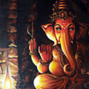 Portrait Of Lord Ganapathy Ganesha Art Print