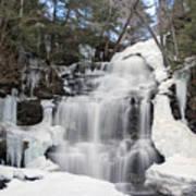 Receding Winter Ice At Ganoga Falls Art Print