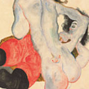 Reclining Woman In Red Trousers And Standing Female Nude Art Print by Egon Schiele