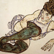 Reclining Woman With Green Stockings Art Print