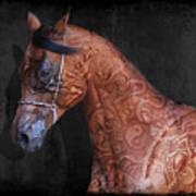 Red Ancient Horse No 01 Art Print