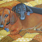 Red And Black Dachshunds - Best Buds Art Print