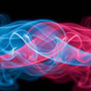 Red And Blue Smoke Art Print
