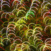 Red And Green Half Circle Lights Abstract Art Print