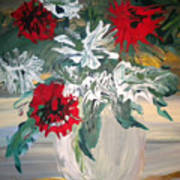 Red And White Flowers By Ralph Art Print