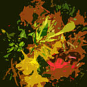 Red And Yellow Flowers Abstract Art Print