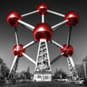Red Atomium Art Print