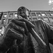 Red Auerbach Chilling At Fanueil Hall Black And White Art Print