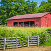 Red Barn Along The Fence Art Print