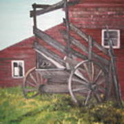 Red Barn And Cattle Ramp Art Print