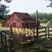 Red Barn At Sunrise Art Print by Cynara Shelton