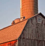 Red Barn At Sunset Art Print