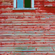Red Barn Broken Window Art Print