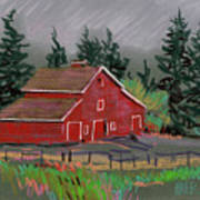 Red Barn In La Honda Art Print