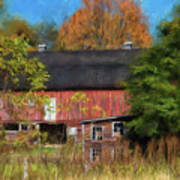 Red Barn In October Art Print