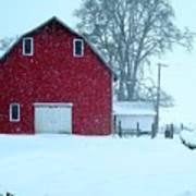 Red Barn In Snow Art Print