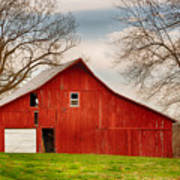 Red Barn In The Blue Sky Art Print