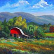 Red Barn On Cane Creek Art Print