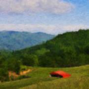 Red Barn On The Mountain Art Print by Teresa Mucha