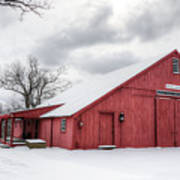 Red Barn On Wintry Day Art Print