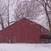 Red Barn Trees Snow Art Print