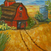 Red Barn- Wheat Field- Down Home Art Print