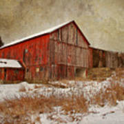 Red Barn White Snow Art Print by Larry Marshall