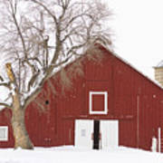 Red Barn Winter Country Landscape Art Print by James BO  Insogna