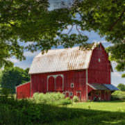 Red Barn With White Arched Door Trim Art Print