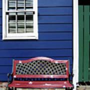 Red Bench Blue House Art Print
