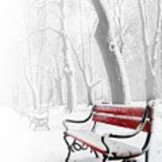 Red Bench In The Snow Art Print
