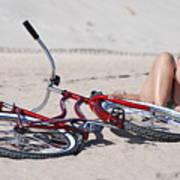 Red Bike On The Beach Art Print