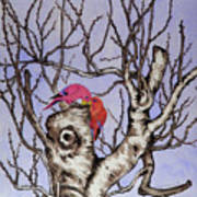 Red Birds On A Withered Tree Art Print