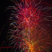 Red Blazing Fireworks Art Print