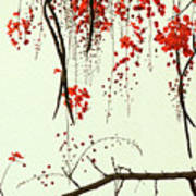 Red Blossom Tree On Handmade Paper Art Print