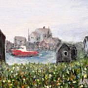 Red Boat In Peggys Cove Nova Scotia  Art Print