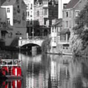 Red Boat On Water Art Print