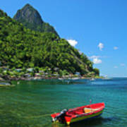 Red Boat- St Lucia Art Print