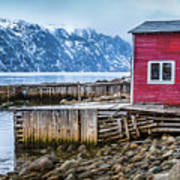 Red Boathouse In Norris Point, Newfoundland Art Print