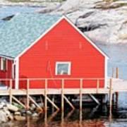 Red Boathouse Art Print