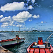 Red Boats At Blue Pier Art Print