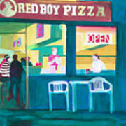 Red Boy Pizza Art Print