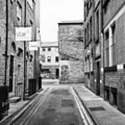 red brick buildings in narrow back turner street Northern quarter Manchester uk Art Print