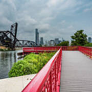 Red Bridge To Chicago Art Print