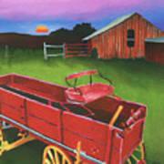 Red Buckboard Wagon Art Print