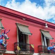 Red Building And Alebrije Art Print