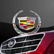 Red Cadillac C T S - Front Grill Ornament And 3d Badge On Black Art Print