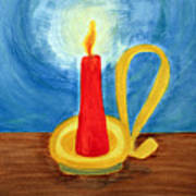 Red Candle Lighting Up The Dark Blue Night. Art Print