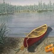 Red Canoe 3  Art Print