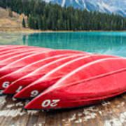 Red Canoes Of Emerald Lake Art Print